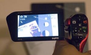 The Xacti VPC-CG10's flip-out screen